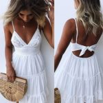 Sexy lace sling stitching bow princess dress